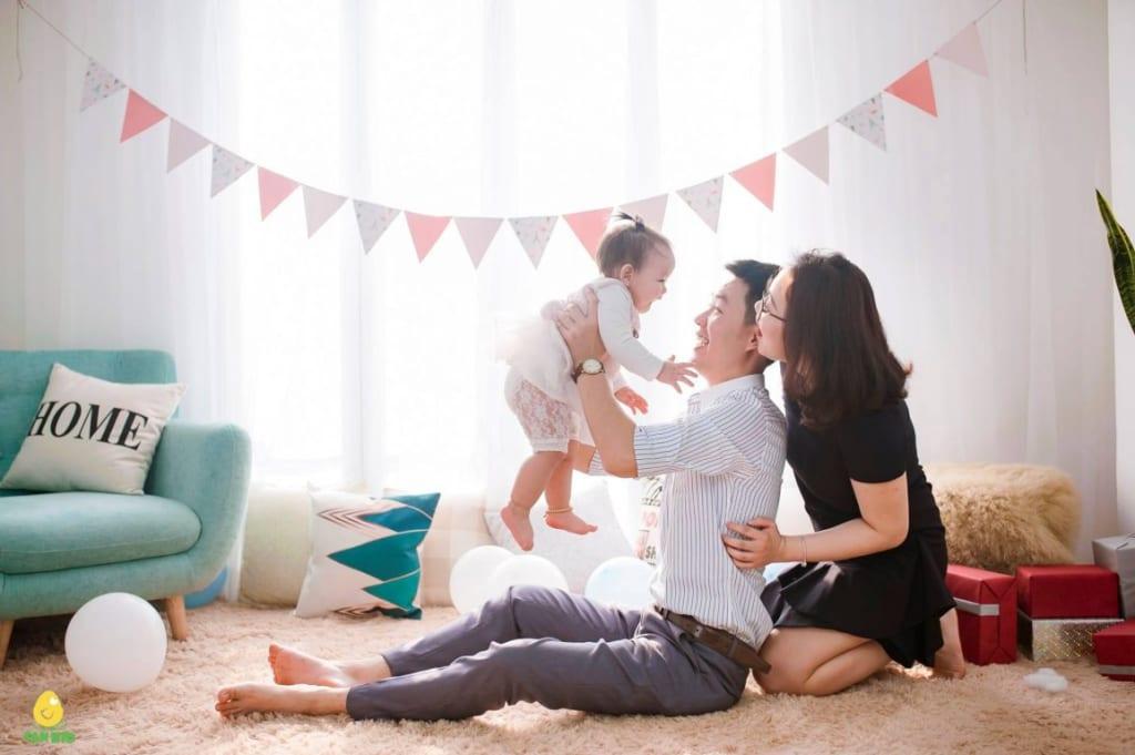 chụp ảnh gia đình và bé tại studio sankid
