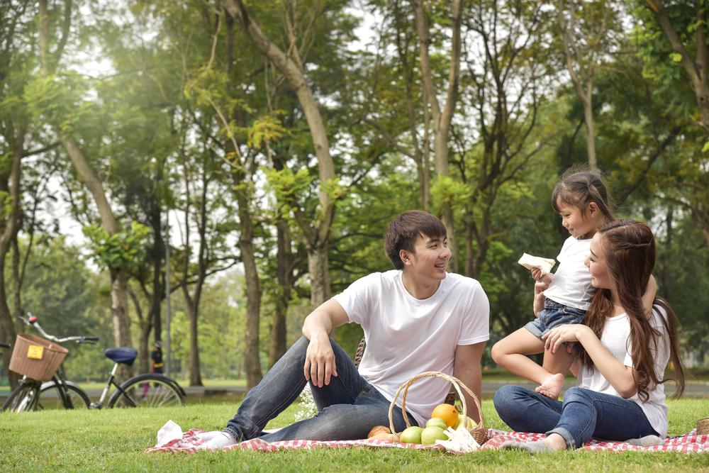 chụp ảnh gia đình đi picnic ngoài trời
