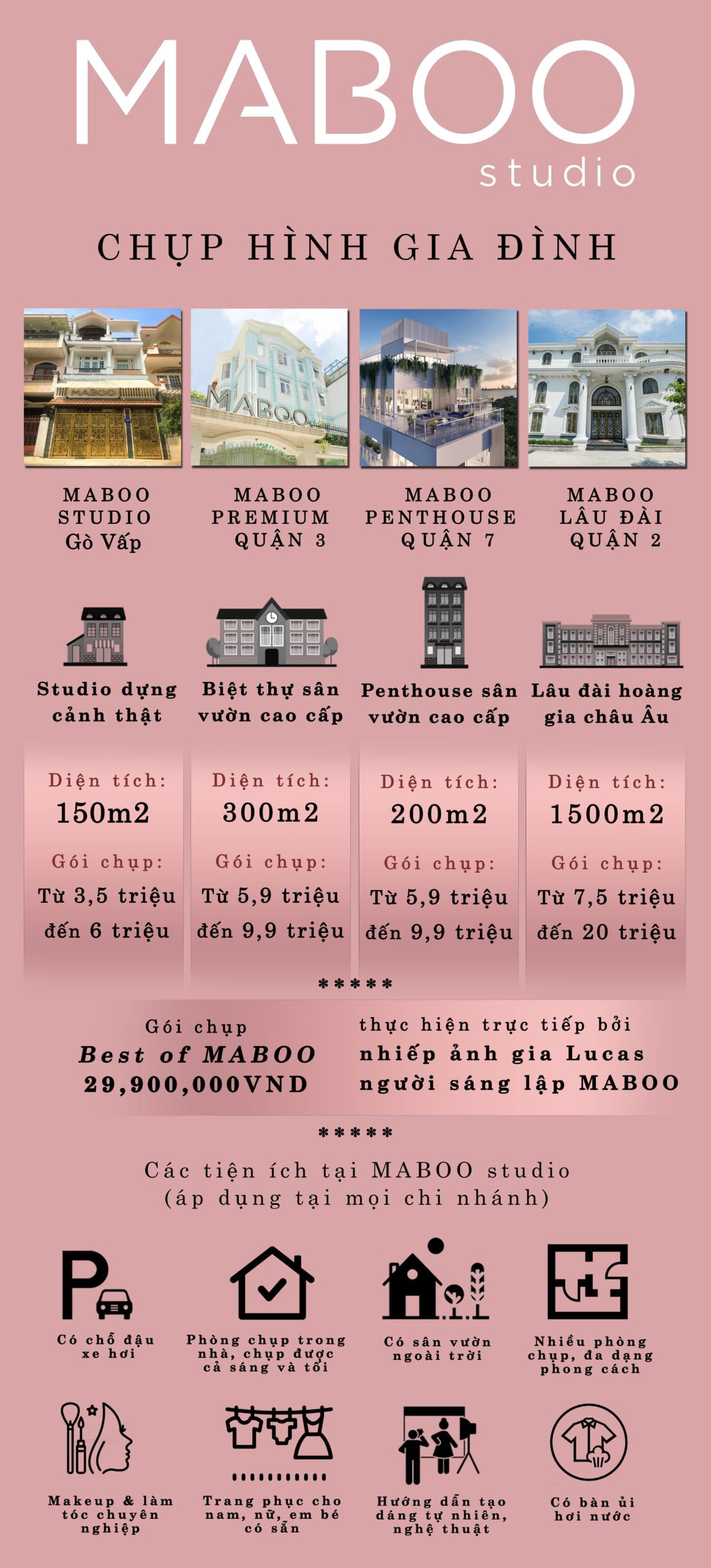 bảng giá chụp ảnh gia đình MABOO Studio